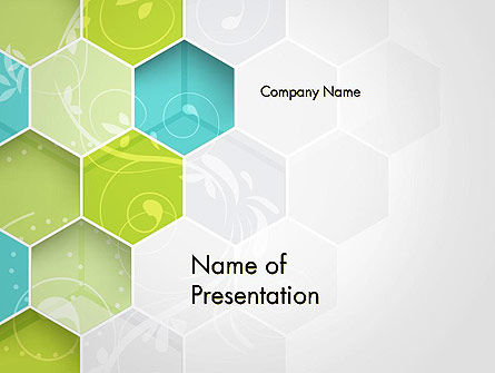 Hexagons with Floral Background PowerPoint Template