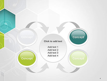 Hexagons with Floral Background PowerPoint Template Slide 6
