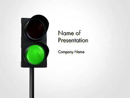 Cars and Transportation: Green Railroad Traffic Light PowerPoint Template #14177