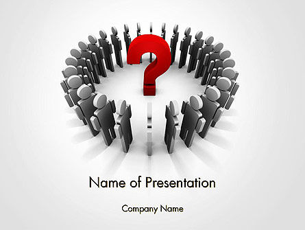 People Standing In Circle with Question Mark in Middle PowerPoint Template, 14184, Business Concepts — PoweredTemplate.com