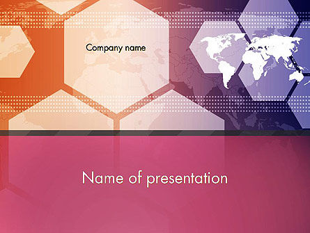 World Map with Hexagons Technology PowerPoint Template