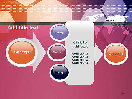 World Map with Hexagons Technology PowerPoint Template Slide 17