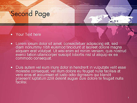 World Map with Hexagons Technology PowerPoint Template Slide 2