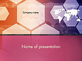 Business: World Map with Hexagons Technology PowerPoint Template #14190