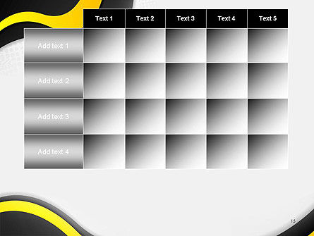 Yellow and Black Waves on Gray Background PowerPoint Template Slide 15