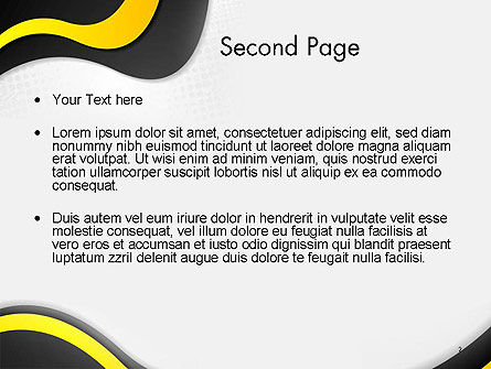 Yellow and Black Waves on Gray Background PowerPoint Template, Slide 2, 14192, Abstract/Textures — PoweredTemplate.com