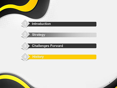 Yellow and Black Waves on Gray Background PowerPoint Template Slide 3