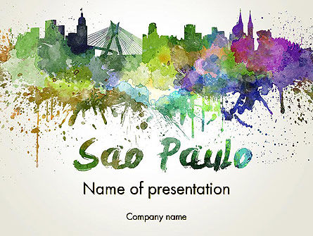 Sao Paulo Skyline in Watercolor Splatters PowerPoint Template