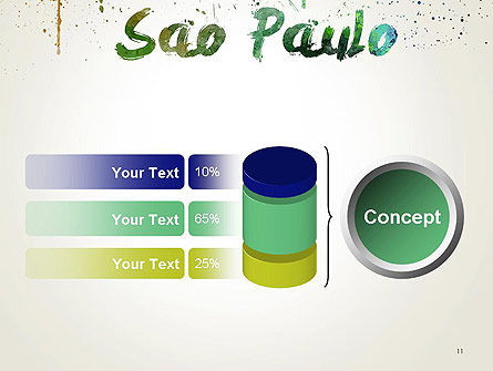 Sao Paulo Skyline in Watercolor Splatters PowerPoint Template Slide 11