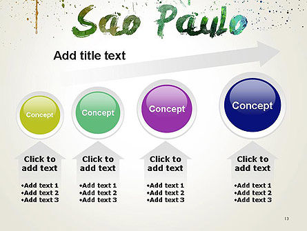 Sao Paulo Skyline in Watercolor Splatters PowerPoint Template Slide 13