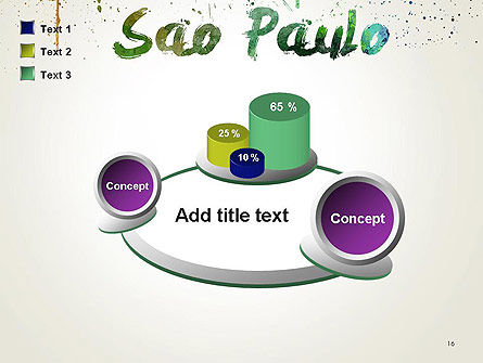 Sao Paulo Skyline in Watercolor Splatters PowerPoint Template Slide 16