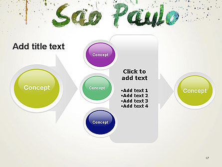 Sao Paulo Skyline in Watercolor Splatters PowerPoint Template Slide 17