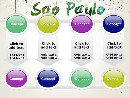 Sao Paulo Skyline in Watercolor Splatters PowerPoint Template Slide 18