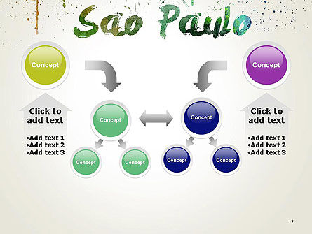 Sao Paulo Skyline in Watercolor Splatters PowerPoint Template Slide 19