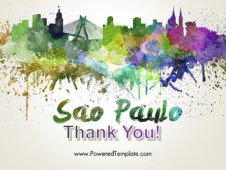Sao Paulo Skyline in Watercolor Splatters PowerPoint Template Slide 20