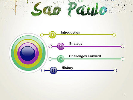 Sao Paulo Skyline in Watercolor Splatters PowerPoint Template Slide 3