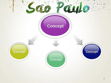 Sao Paulo Skyline in Watercolor Splatters PowerPoint Template Slide 4