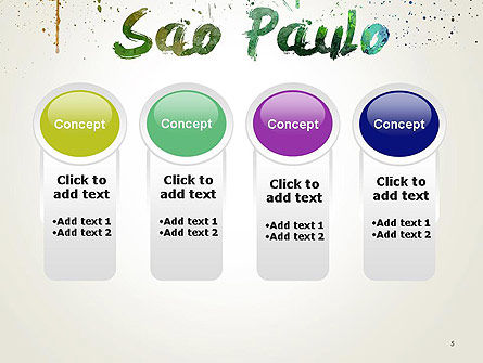 Sao Paulo Skyline in Watercolor Splatters PowerPoint Template Slide 5