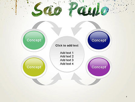 Sao Paulo Skyline in Watercolor Splatters PowerPoint Template Slide 6