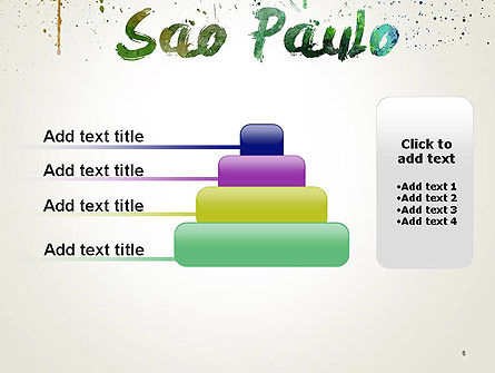 Sao Paulo Skyline in Watercolor Splatters PowerPoint Template Slide 8