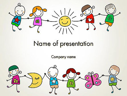 Childish Drawings PowerPoint Template, 14203, Education & Training — PoweredTemplate.com