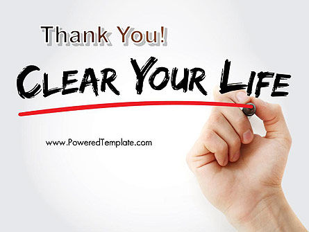 Hand Writing Clear Your Life with Marker PowerPoint Template Slide 20