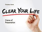 Business Concepts: Hand Writing Clear Your Life with Marker PowerPoint Template #14211