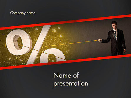 Businessman Pulling Percent Sign PowerPoint Template
