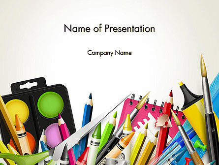 School Background with School Supplies PowerPoint Template, 14213, Education & Training — PoweredTemplate.com