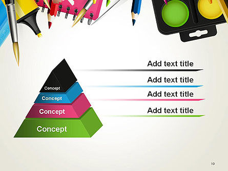 School Background with School Supplies PowerPoint Template Slide 10