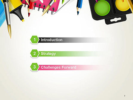 School Background with School Supplies PowerPoint Template Slide 3