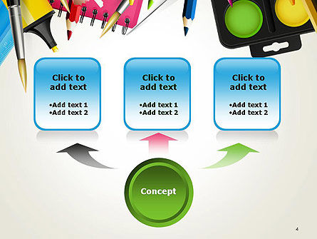 School Background with School Supplies PowerPoint Template Slide 4