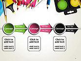 School Background with School Supplies PowerPoint Template#11