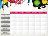 School Background with School Supplies PowerPoint Template#15