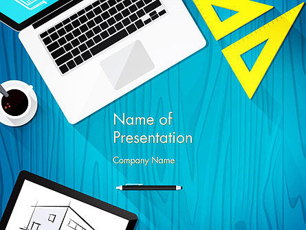 Construction: Architect Desktop Top View PowerPoint Template #14216