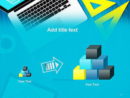 Architect Desktop Top View PowerPoint Template Slide 13