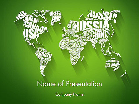 Global: World Map in Word Cloud PowerPoint Template #14218