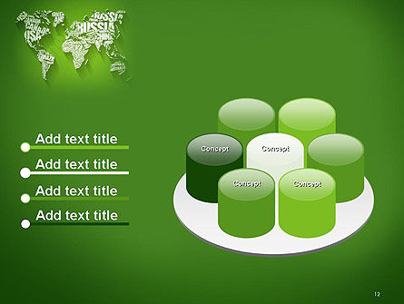 World Map in Word Cloud PowerPoint Template Slide 12