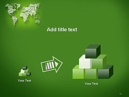 World Map in Word Cloud PowerPoint Template Slide 13