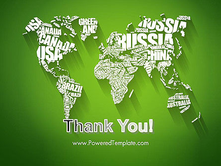 World Map in Word Cloud PowerPoint Template Slide 20