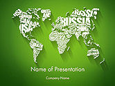 World Map in Word Cloud PowerPoint Template#1