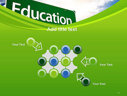 Education Just Ahead Green Road Sign PowerPoint Template Slide 10