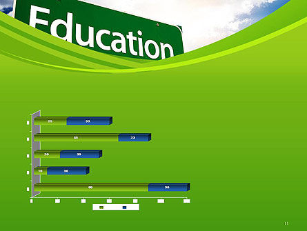 Education Just Ahead Green Road Sign PowerPoint Template Slide 11