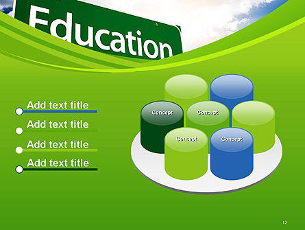 Education Just Ahead Green Road Sign PowerPoint Template Slide 12