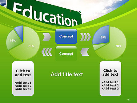 Education Just Ahead Green Road Sign PowerPoint Template Slide 16