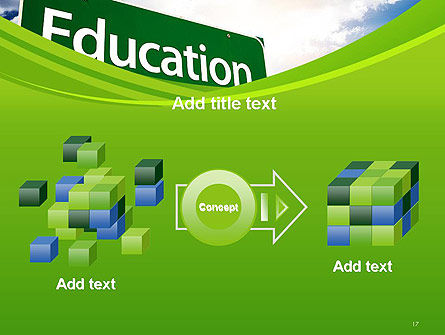 Education Just Ahead Green Road Sign PowerPoint Template Slide 17