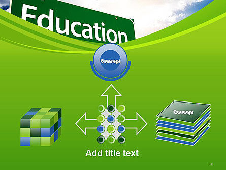 Education Just Ahead Green Road Sign PowerPoint Template Slide 19