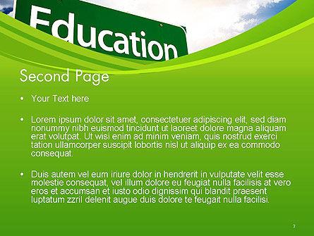 Education Just Ahead Green Road Sign PowerPoint Template Slide 2