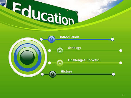Education Just Ahead Green Road Sign PowerPoint Template Slide 3