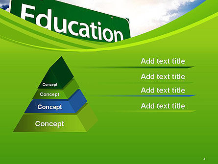 Education Just Ahead Green Road Sign PowerPoint Template Slide 4